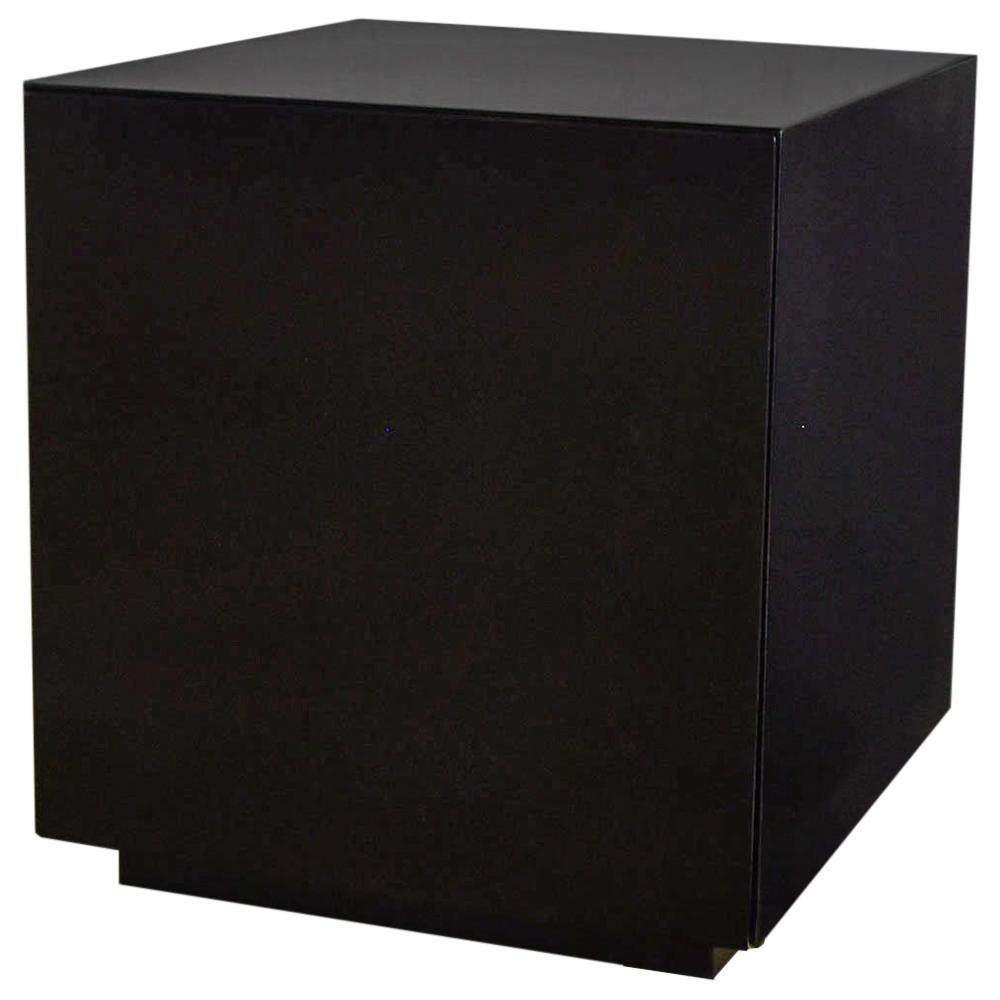 Mid-Century Modern Black Painted Cube Cabinet End or Side Table