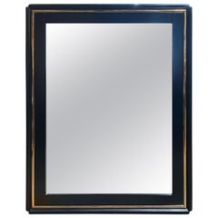 Mid-Century Modern Black Square Italian Mirror, Italy, 1970