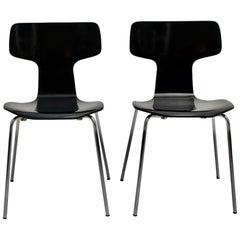 Scandinavian Modern Black Vintage Chairs Arne Jacobsen 1952 for Fritz Hansen