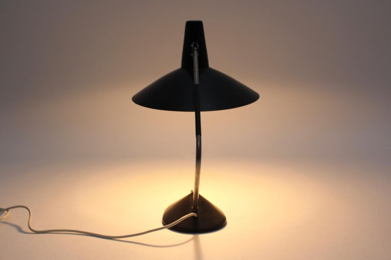 Mid-Century Modern Black Vintage Metal Table Lamp by Stilnovo, 1950s, Italy For Sale 14