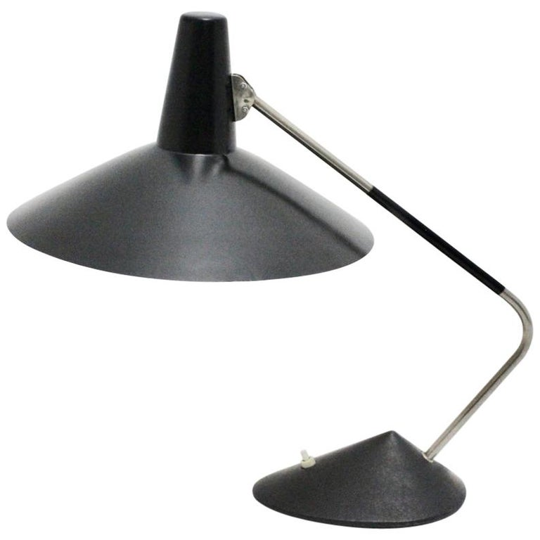 Mid-Century Modern Black Vintage Metal Table Lamp by Stilnovo, 1950s, Italy For Sale