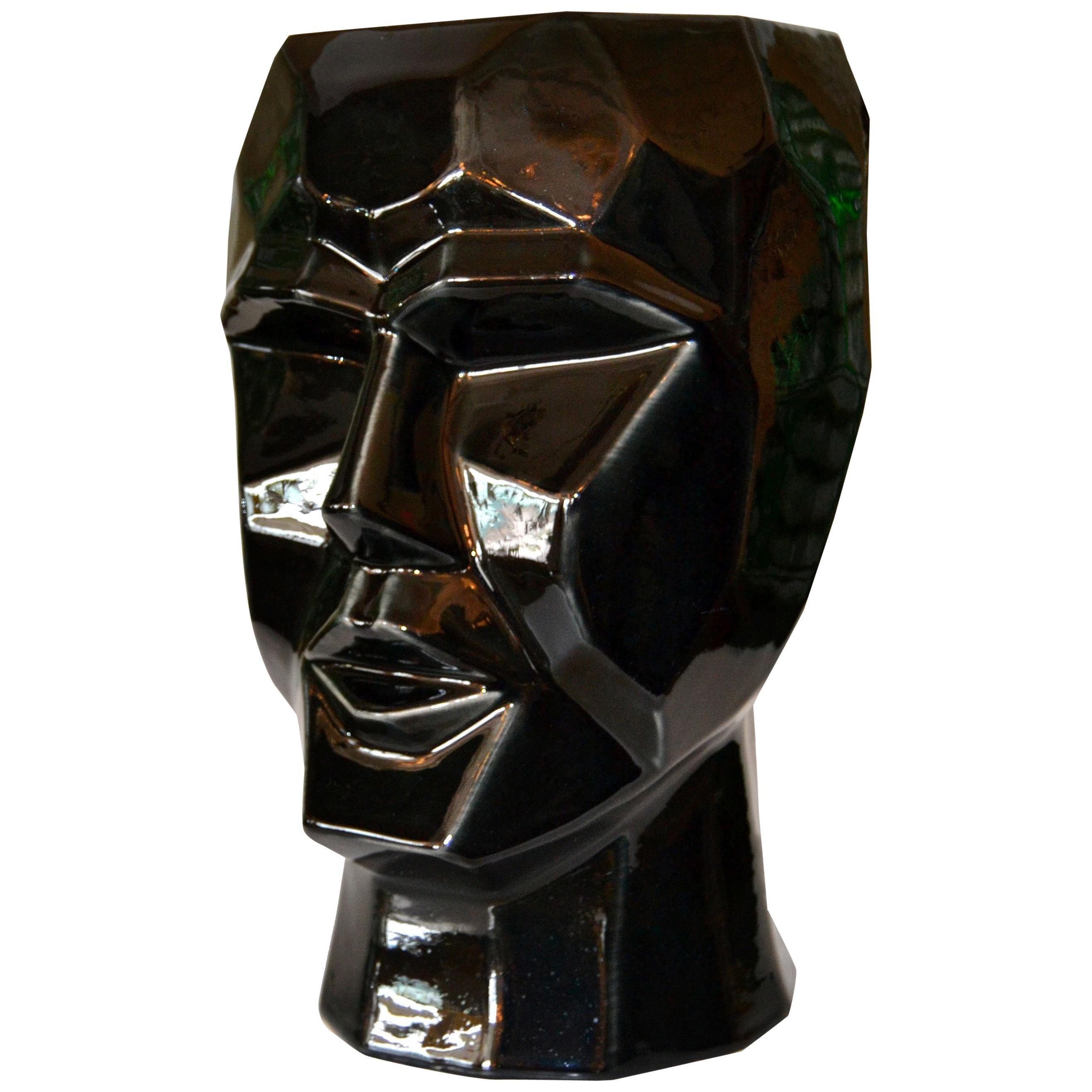 Mid-Century Modern Black and White Cubist Head Glazed Ceramic Vase