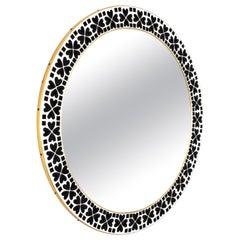 Mid-Century Modern Black & White Mosaic Circular Mirror with Heart Ceramic Tiles