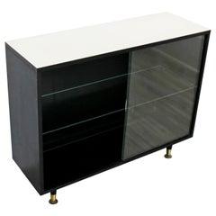 Mid-Century Modern Black and White Sliding Glass Cabinet Paul McCobb Style 1960s