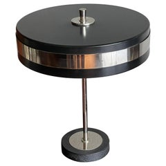Mid-Century Modern Blackened and Chrome Metal Circular Shade Table or Desk Lamp