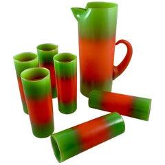 Mid-Century Modern Blendo Glass Orange & Green Ombre Beverage Barware Set 7 pcs