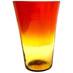 Mid-Century Modern Blenko Glass Amberina Vase
