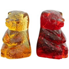 Mid-Century Modern Blenko Pair of Red and Yellow Glass Bear Book Ends, 1970s
