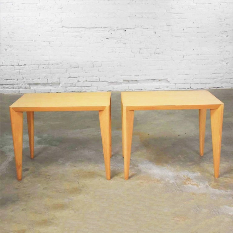 Mid-Century Modern Blonde Side Tables or End Tables with Laminate Tops a P For Sale 5