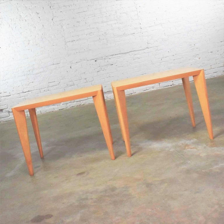 Mid-Century Modern Blonde Side Tables or End Tables with Laminate Tops a P For Sale 7