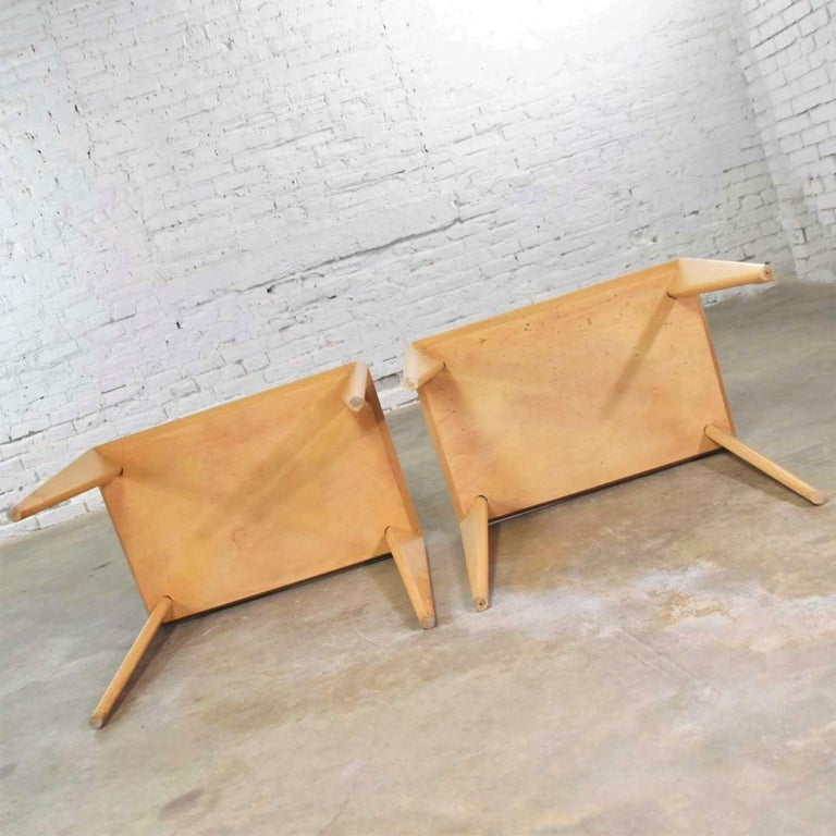 Mid-Century Modern Blonde Side Tables or End Tables with Laminate Tops a P For Sale 8