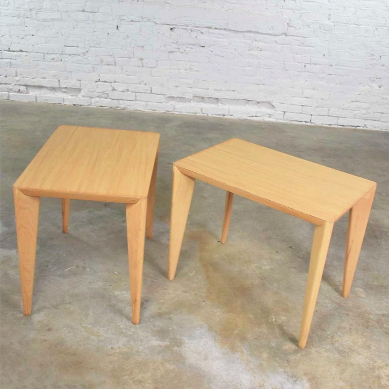 Mid-Century Modern Blonde Side Tables or End Tables with Laminate Tops a P In Good Condition For Sale In Topeka, KS