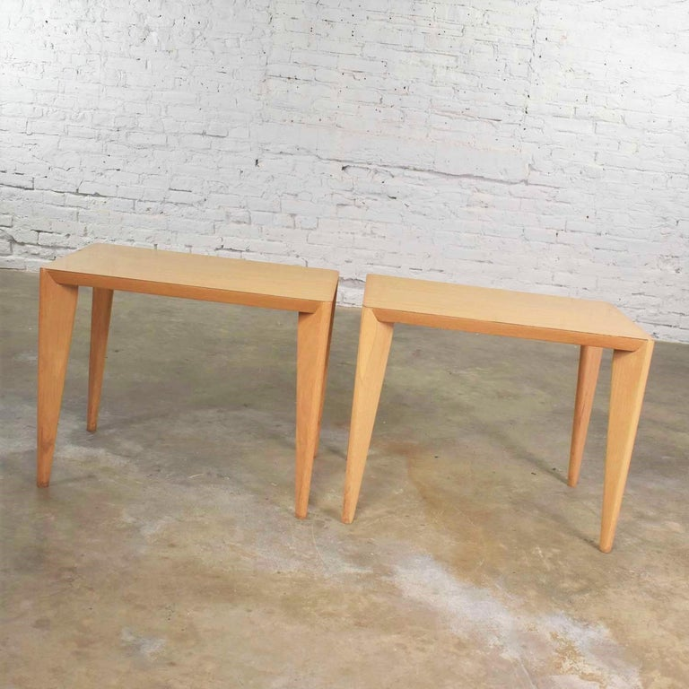 20th Century Mid-Century Modern Blonde Side Tables or End Tables with Laminate Tops a P For Sale
