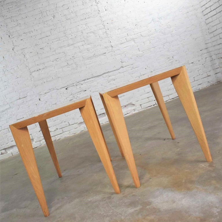 Mid-Century Modern Blonde Side Tables or End Tables with Laminate Tops a P For Sale 1