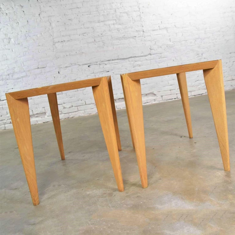 Mid-Century Modern Blonde Side Tables or End Tables with Laminate Tops a P For Sale 2