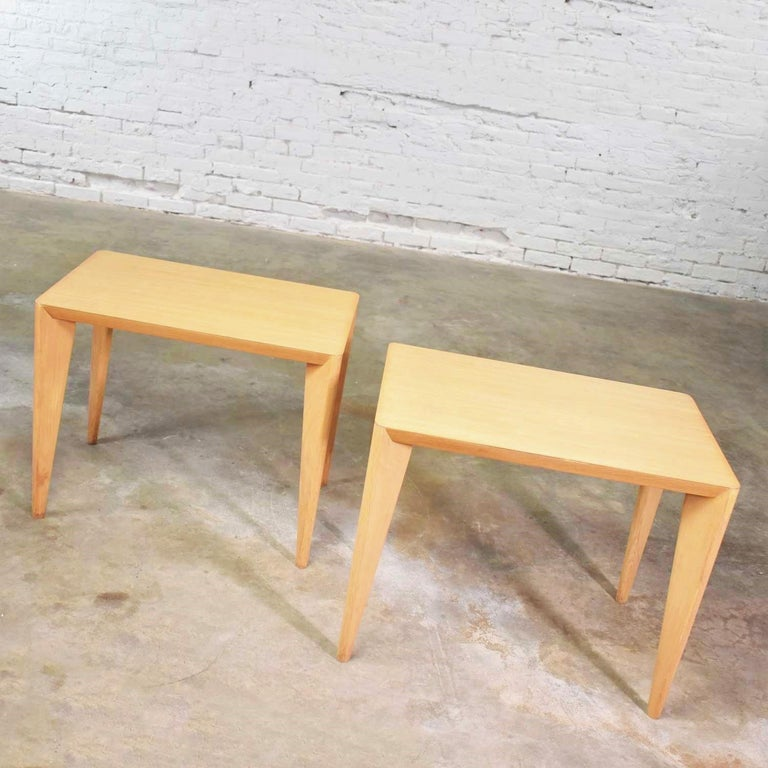 Mid-Century Modern Blonde Side Tables or End Tables with Laminate Tops a P For Sale 3