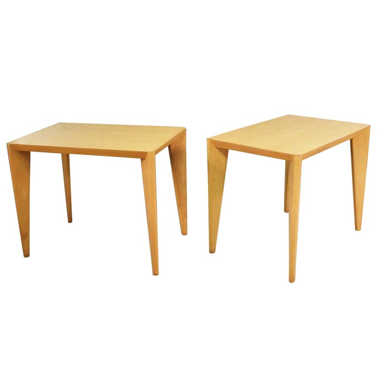 Mid-Century Modern Blonde Side Tables or End Tables with Laminate Tops a P For Sale