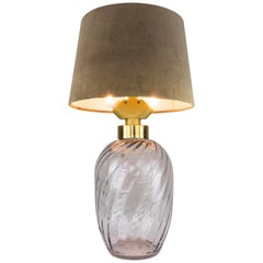 Mid-Century Modern Blown Glass and Brass Table Lamp Lumica Spain, 1970