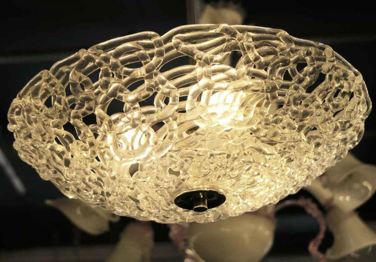 Mid-Century Modern Blown Glass Lattice Pendant Light with Brass Fixture In Good Condition In New York, NY