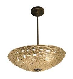 Mid-Century Modern Blown Glass Lattice Pendant Light with Brass Fixture
