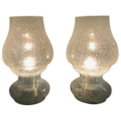 Mid-Century Modern Blown Glass Pair of Table Lamps by Doria, Germany, circa 1970