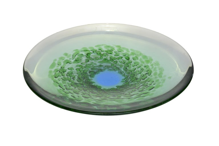 Hand-Crafted Mid-Century Modern Blown Murano Glass Plate in Green and Blue, Italy For Sale