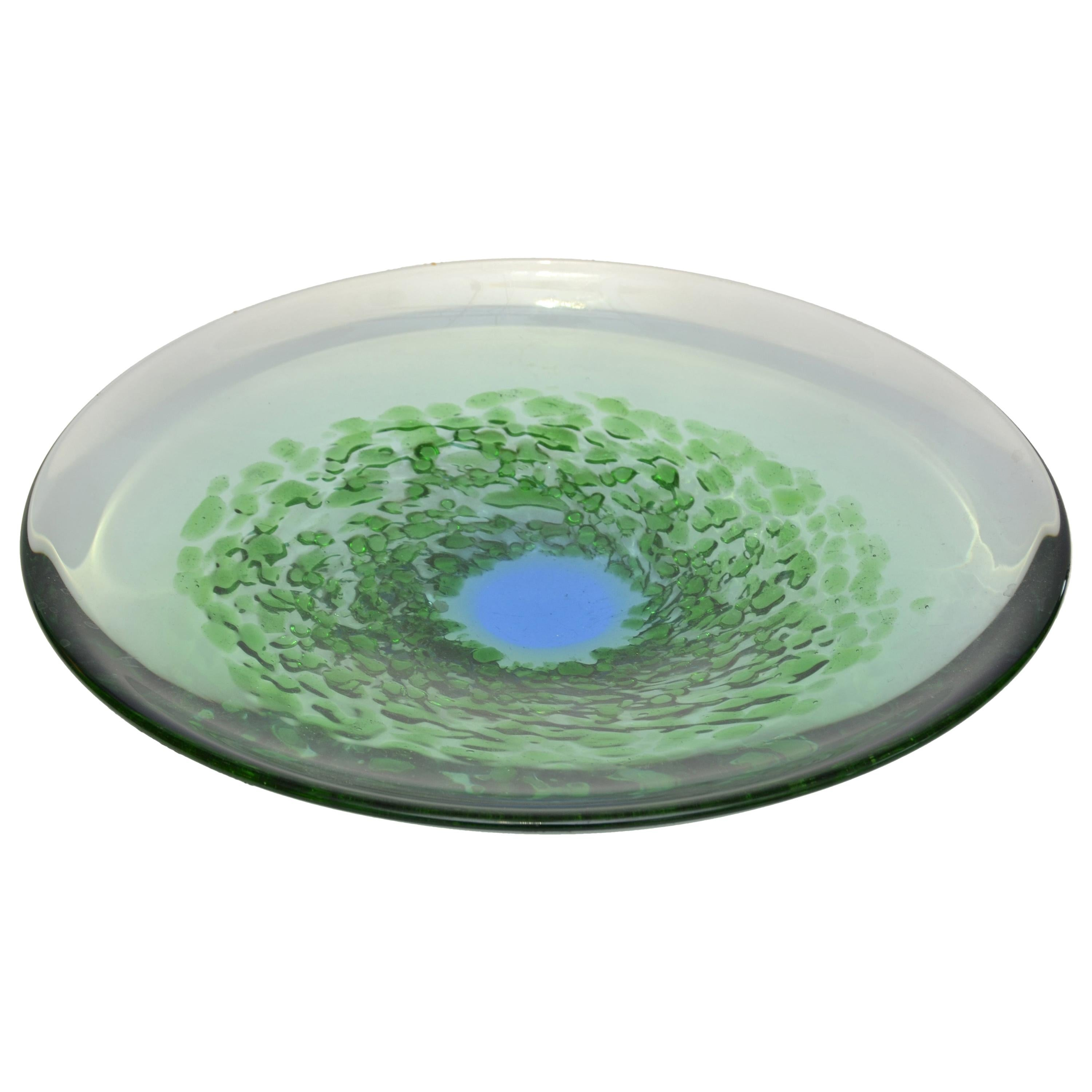 Mid-Century Modern Blown Murano Glass Plate in Green and Blue, Italy