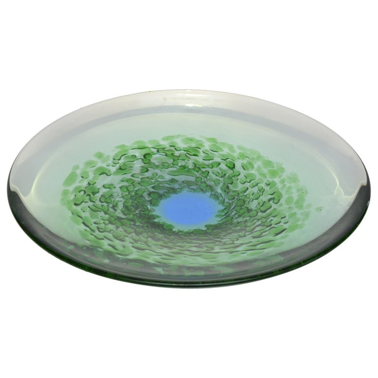 Mid-Century Modern Blown Murano Glass Plate in Green and Blue, Italy For Sale