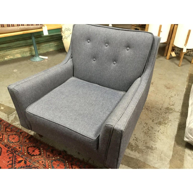 20th Century Mid-Century Modern Blue Denim Reupholstered Chair For Sale