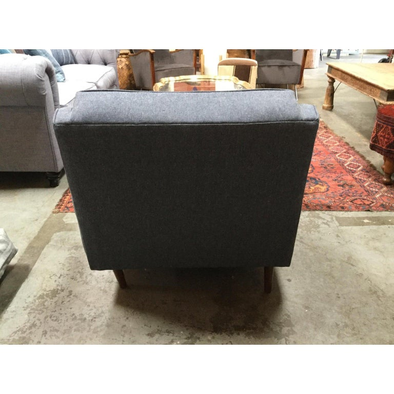 Mid-Century Modern Blue Denim Reupholstered Chair For Sale 3