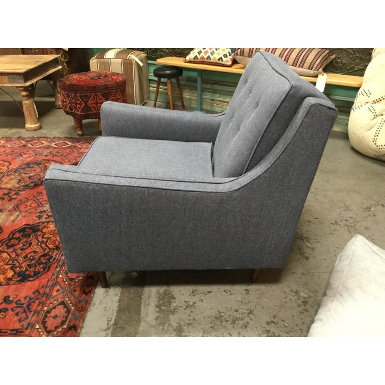 Mid-Century Modern Blue Denim Reupholstered Chair For Sale 4