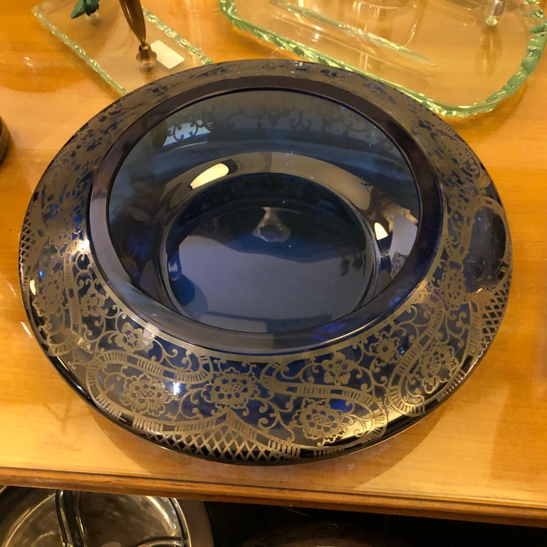 Mid-Century Modern Blue Glass and Sterling Silver Italian Vanity Box, circa 1940 In Good Condition For Sale In Aci Castello, IT