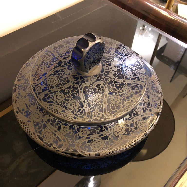 Mid-Century Modern Blue Glass and Sterling Silver Italian Vanity Box, circa 1940 For Sale 4