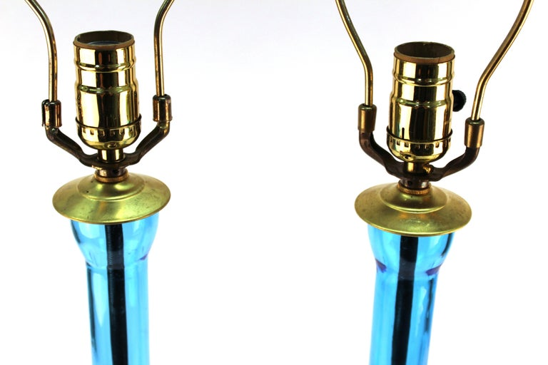 Mid-Century Modern Blue Glass Table Lamps For Sale 6