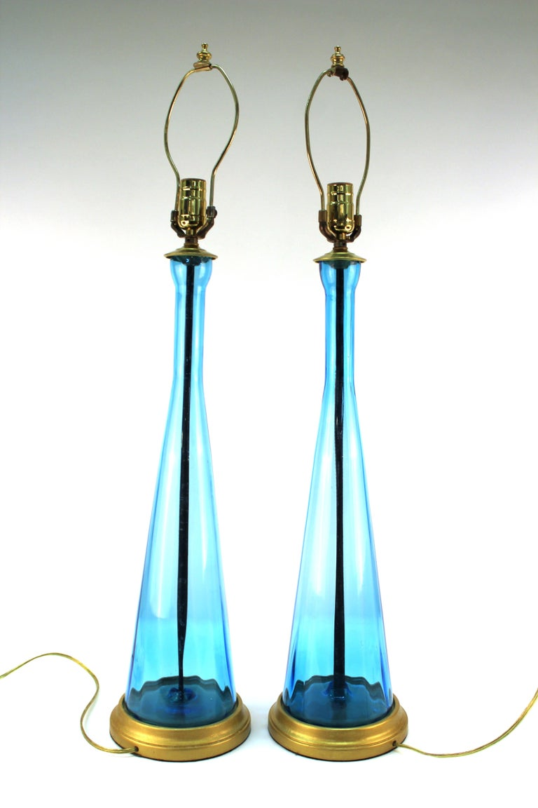 Mid-Century Modern Blue Glass Table Lamps For Sale 1