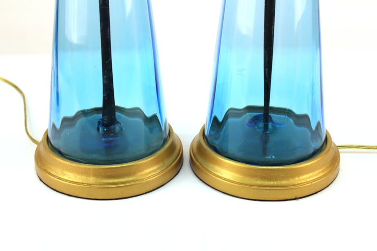 Mid-Century Modern Blue Glass Table Lamps For Sale 2