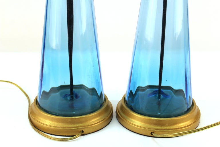 Mid-Century Modern Blue Glass Table Lamps For Sale 3