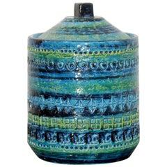 Mid-Century Modern Blue Green Ceramic Lidded Art Vessel Bitossi, Italian, 1970s