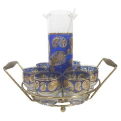 Mid-Century Modern, Blue Paisley Cocktail Set in Circular Caddy, by Culver, LTD.