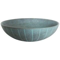 Mid-Century Modern Blue Scandinavian Bowl Decorative Pottery, Finland