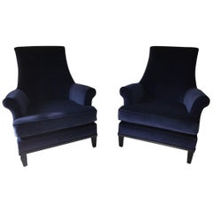 Mid-Century Modern  Blue Velvet American Armchairs with Black Laquered Frame