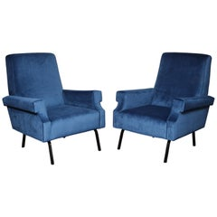 Mid-Century Modern Blue Velvet Upholstered Chairs with Black Iron Legs