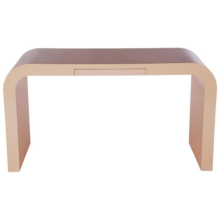 Mid-Century Modern Blush Pink Console, Desk or Sofa Table after Karl  Springer