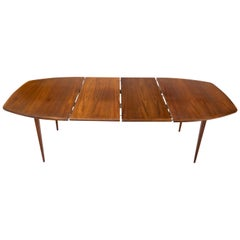 Mid-Century Modern Boat Shape Oiled Walnut Dining Table with 2 Extension Boards