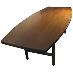 Mid-Century Modern Boat Shaped Black Walnut Dining Conference Table