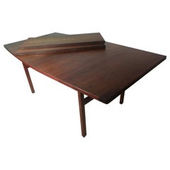 Mid-Century Modern Boat Shaped Walnut Dining Table with 2 Leaves by Jen's Risom
