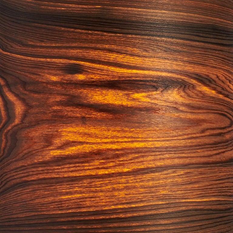 American Mid-Century Modern Bog Wood Veneer Drum Pendant For Sale