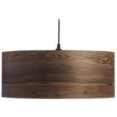 Mid-Century Modern Bog Wood Veneer Drum Pendant