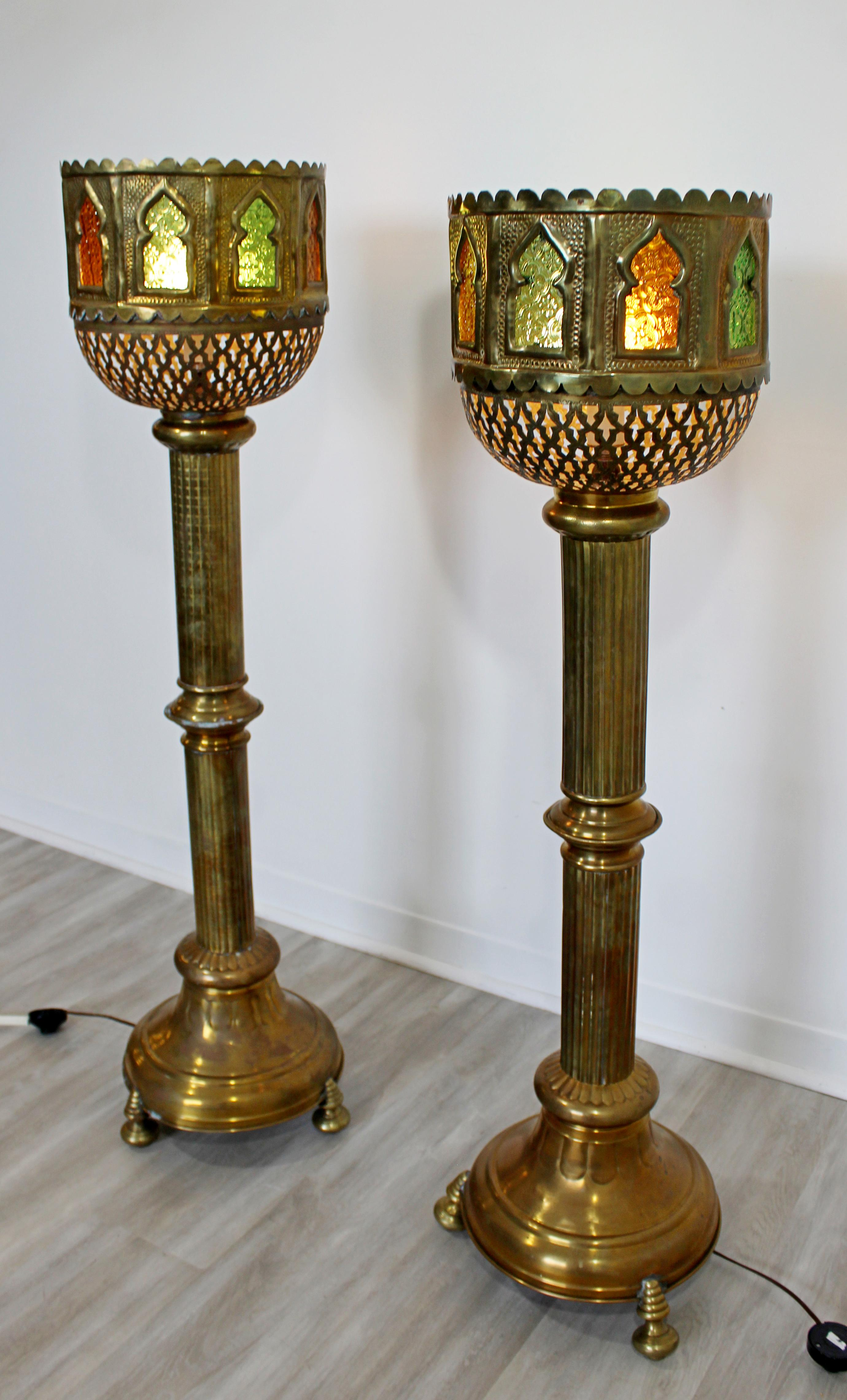 Mid Century Modern Bohemian Moroccan Brass Pair Of Floor Lamps For Sale At 1stdibs