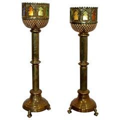 Mid-Century Modern Bohemian Moroccan Brass Pair of Floor Lamps